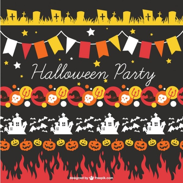Halloween Party Decorations Free Vectors