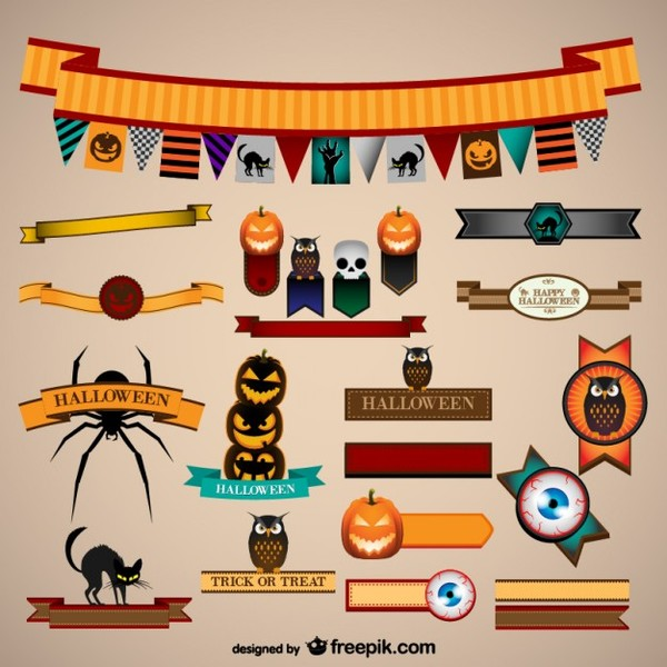 Halloween Vector Graphic Elements Free Vectors