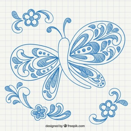 Hand Drawn Butterfly and Ornaments Free Vectors