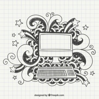 Hand Drawn Computer In A Notebook Paper Free Vectors