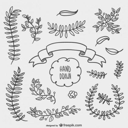 Hand Drawn Floral Ornaments Free Vectors