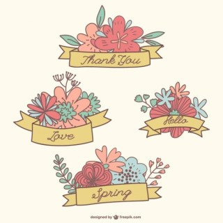 Hand-Drawn Flower Banners Collection Free Vectors