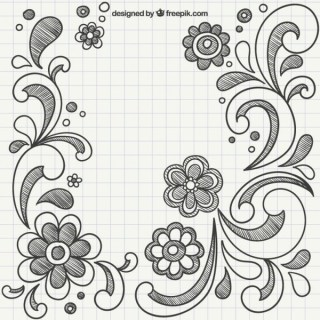 Hand Drawn Ornaments with Flowers Free Vectors