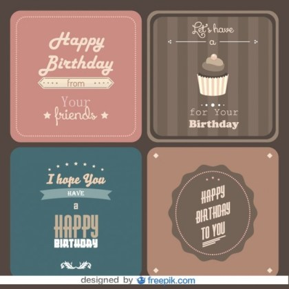 Happy Birthday Postcard Pack Free Vectors