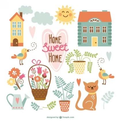 Home Sweet Home Cute Cartoons Free Vectors