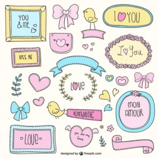 Love Colorful Doodles Free Vectors