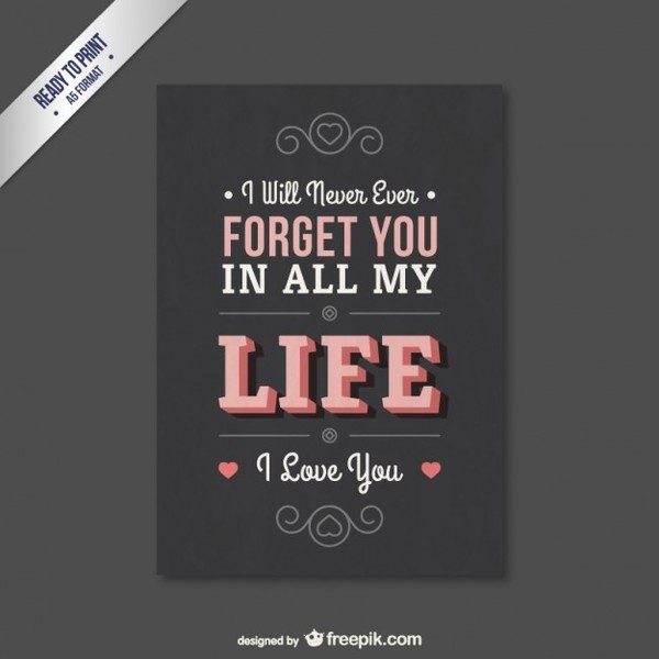 Lovely Valentine Card with Lettering Free Vectors