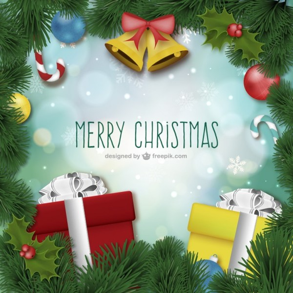 Merry Christmas Card with Ornaments Free Vectors