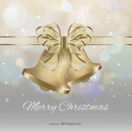 Merry Christmas with Golden Bells and Bow Vector Free Vectors