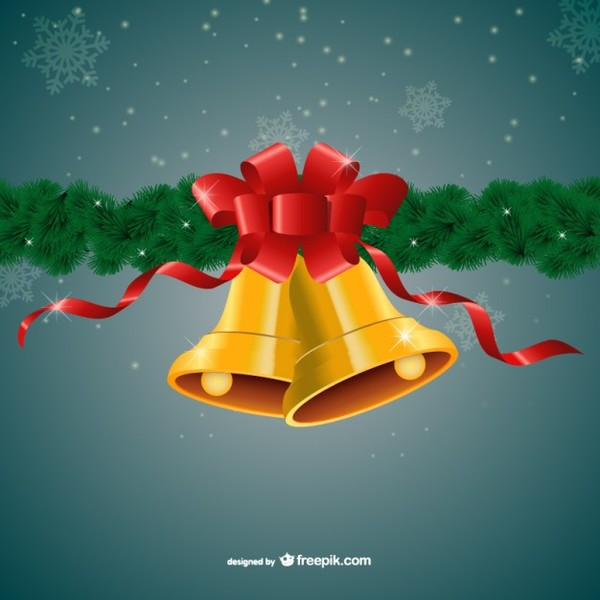 Merry Christmas with Golden Bells and Red Ribbon Free Vectors