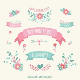 Mothers Day Decoration Elements Free Vectors