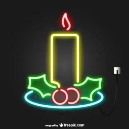 Neon Lights Christmas Candle Free Vectors