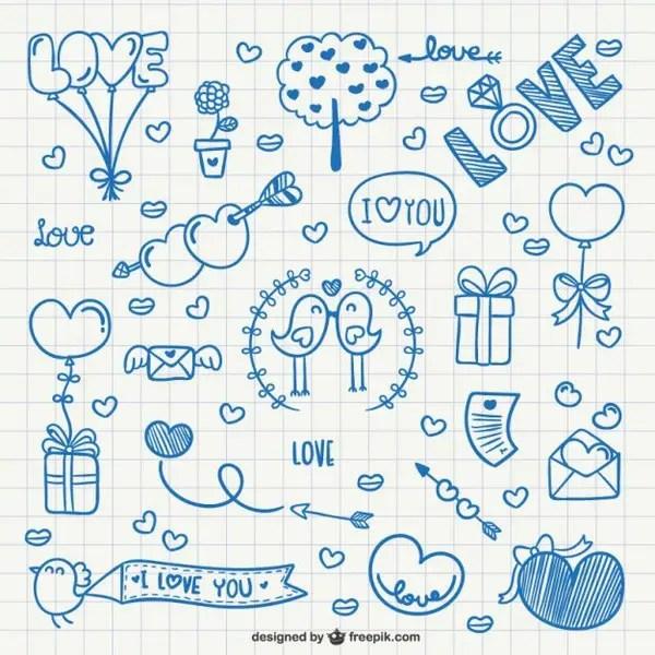 Notebook Valentine Doodles Free Vectors