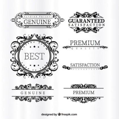 Ornamental Premium Labels Free Vectors