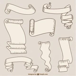Paper Ribbons and Scrolls Free Vectors