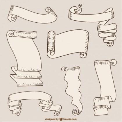 Paper Ribbons and Scrolls Free Vectors