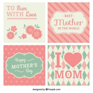 Pink Mothers Day Cards Collection Free Vectors