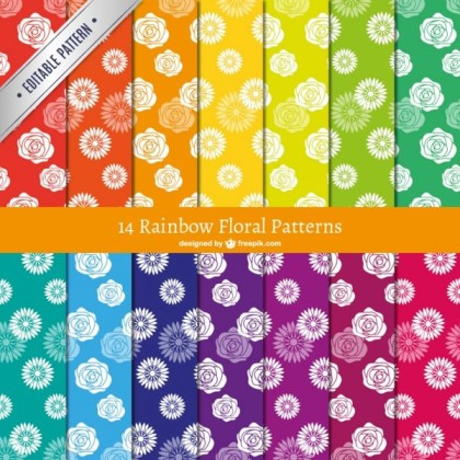 Rainbow Floral Patterns Free Vectors