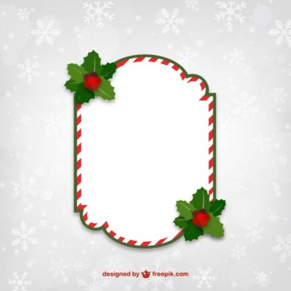Red and White Christmas Frame Free Vectors