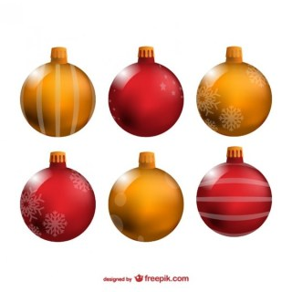 Red and Yellow Christmas Balls Free Vectors