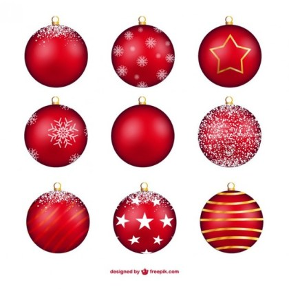 Red Christmas Baubles Free Vectors