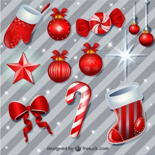 Red Christmas Baubles Pack Free Vectors