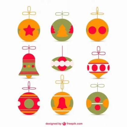 Retro Style Christmas Ornaments Free Vectors