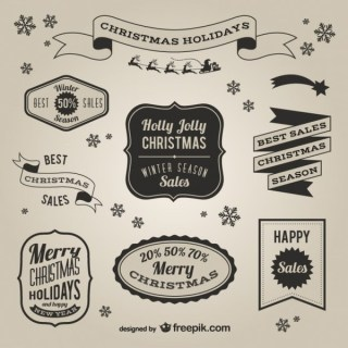 Retro Style Christmas Sales Labels Free Vectors
