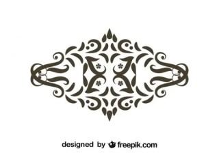 Retro Style Floral Swirl Ornament Free Vectors