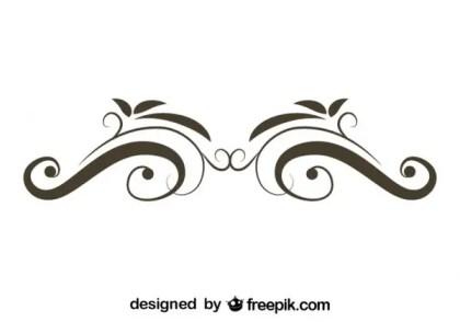 Retro Style Floral Swirl Stylish Vector Graphics Free Vectors