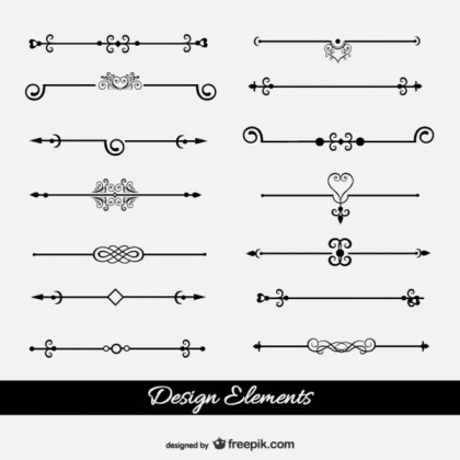 Retro Style Text Dividers Collection Free Vectors