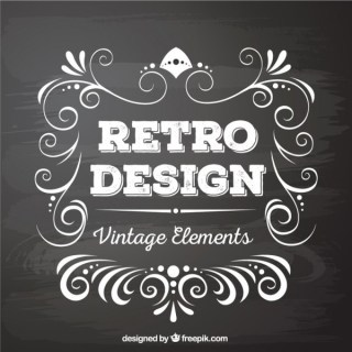 Retro Style Vector Graphics Elements In Blackboard Style Free Vectors