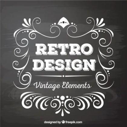Retro Style Vector Graphics Elements In Blackboard Style Free Vectors