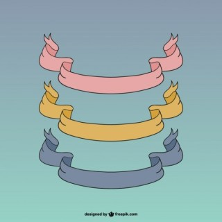 Ribbon Banners Retro Style Collection Free Vectors