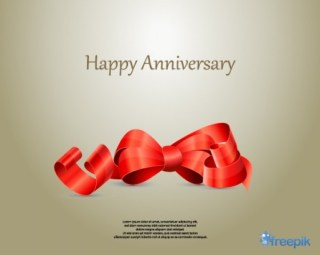 Ribbon Happy Anniversary Free Vectors