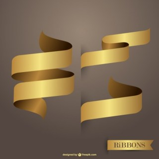 Ribbons Golden Free Vectors Free Vectors