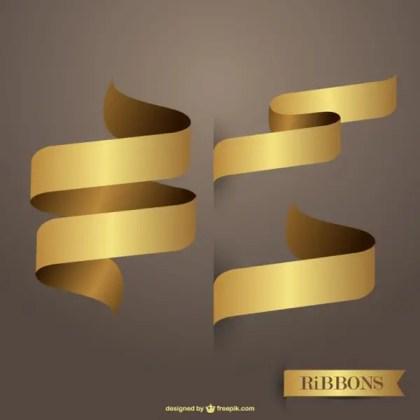 Ribbons Golden Free Vectors Free Vectors