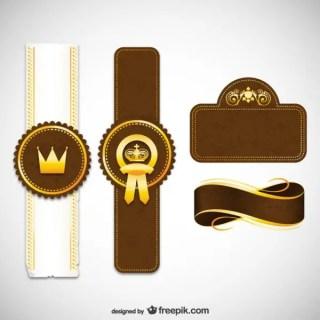 Royal Labels and Ribbons Free Vectors