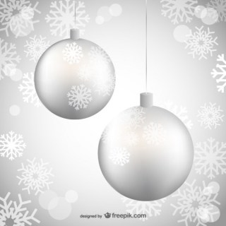 Silver Christmas Balls Free Vectors
