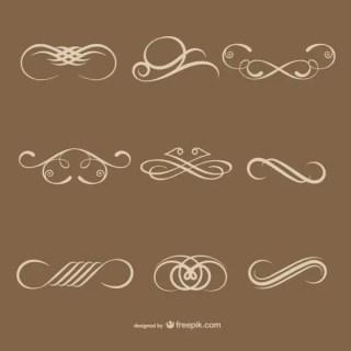 Simple Calligraphic Decorative Elements Free Vectors