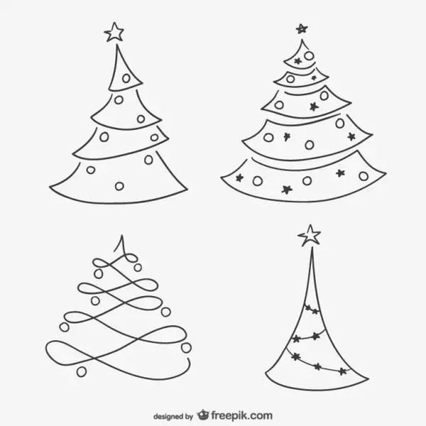 Sketchy Christmas Trees Free Vectors