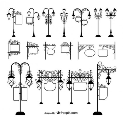 Street Lamps and Signage Free Vectors