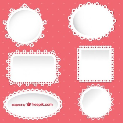 Sweet Lace Frames Collection Free Vectors