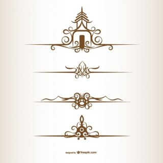 Thai Style Ornaments Free Vectors
