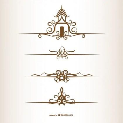 Thai Style Ornaments Free Vectors