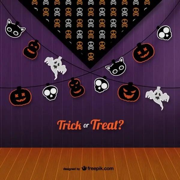 Trick Or Treat Halloween Bunting Free Vectors