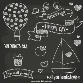 Valentine's Day Blackboard Style Doodles Free Vectors