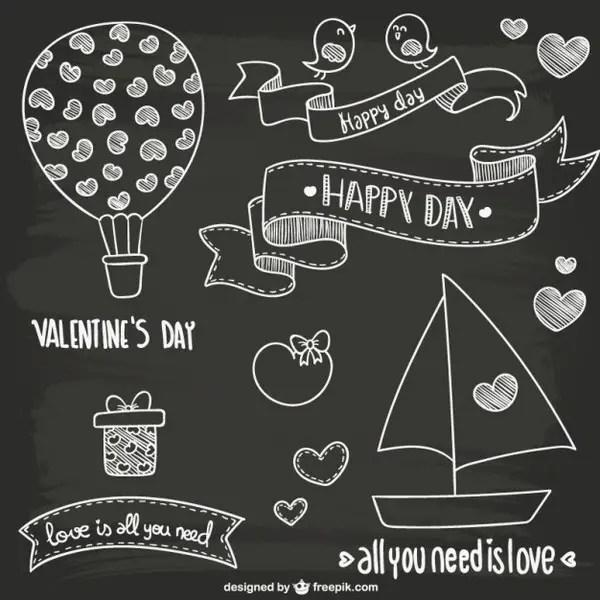 Valentine's Day Blackboard Style Doodles Free Vectors