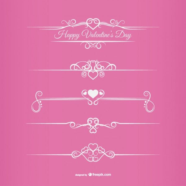 Valentine's Day Borders Free Vectors