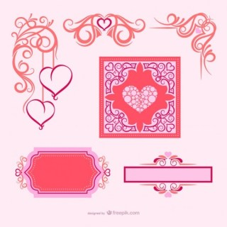 Valentine's Day Calligraphic Ornaments Free Vectors